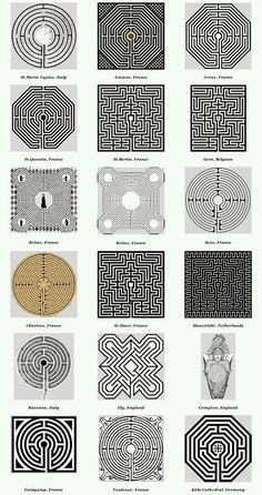 Church & Cathedral Labyrinths - Graphics This pattern shows different patterns of labyrinths. It shows ways that I can incorporate different patterns to the floor. Doodles Zentangles, 3d Templates, Labyrinth Maze, Maze Design, Land Art, Art Plastique, Op Art, Geometric Art, Sacred Geometry
