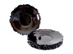 Set of 6 Vintage Black Amethyst Glass Saucers