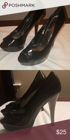 bd63bc3125a4 Black Patent Leather Peep Toe Heels Peep toe heels. Only worn once. Comfy.  City Streets Shoes Heels