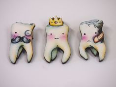 Teeth 3 Part Laser Cut Wood Brooches Wisdom Tooth by HungryDesigns, $35.00