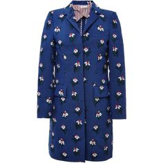 Thom Browne Chesterfield Overcoat In Med Blue Mohair With White Tulip... (111 275 UAH) ❤ liked on Polyvore featuring outerwear, coats, over coat, mohair coat, white coat, white overcoat and thom browne