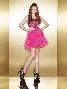Short Dress With Black-and-Pink Bodice