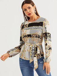 Shop Scarf Print Self Belt Top online. SHEIN offers Scarf Print Self Belt Top & more to fit your fashionable needs. Fall Shirts, Types Of Sleeves, Types Of Shirts, Cute Dresses, Fashion News, Bell Sleeve Top, Clothes For Women, Casual, Model