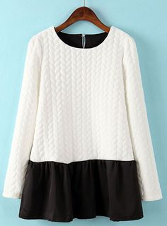 White+Long+Sleeve+Contrast+Black+Hem+Dress+US$32.13