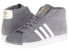 adidas Originals Pro Model Tech Grey/White/Metallic Gold - Zappos.com // for dance