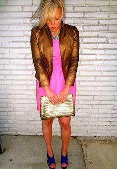 How We Style It - Pretty in Pink    Zara Blazer (similar), J. Crew Dress (similar), Target Mossimo Petene Heeled Sandals,   Rachel Mulherin necklace, Grandmother's clutch (similar)  Photo Credit: Ben McDonald