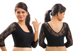 Black Lace Crochet Stretchable Blouse & Crop Top From Muhenera A12l- Online Shopping for Blouses by Muhenera