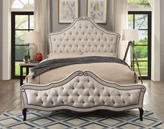 "Diadem collection beige linen like fabric upholstered tufted with nail head trim queen bed. Queen bed measures 89 1/4"" x 69 3/4"" X 71 1/4"" H. Also available in Cal king and Eastern King. Some assembly required."