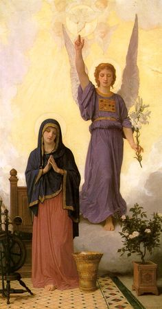 William-Adolphe Bouguereau - The Annunciation Art Print. Explore our collection of William-Adolphe Bouguereau fine art prints, giclees, posters and hand crafted canvas products William Adolphe Bouguereau, Blessed Mother Mary, Blessed Virgin Mary, Catholic Art, Religious Art, Religious Paintings, Feast Of The Annunciation, Queen Of Heaven, Holy Mary