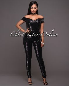 07ff1758 Boris Black Sequins Off-The-Shoulder Padded Jumpsuit. Chic Couture OnlineCruise  WearShoulder ...