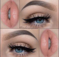 Soft smokey eye, with nude lips