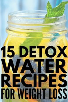 Who says H2O needs to be boring?! Whether you're looking for detox water recipes to aid with fat-burning and weight loss, want to start a cleanse for clear skin and/or for acne, or need ideas for a good body flush (and for bloating!), this collection of homemade detox water recipes to lose weight can be made using ingredients from your pantry. Check out 15 of our faves and drink your way to gorgeous skin and a flat tummy! #detox #detoxwater #weightloss #diet Weight Loss Detox, Detox Water To Lose Weight, Detox Water For Clear Skin, Ways To Lose Weight, Losing Weight Tips, Healthy Detox, Vegan Detox, Healthy Drinks, Healthy Appetizers