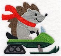 """Frosty Snowmobiling HedgehogProduct ID:M10891 M10892 2 SIZES5.39""""(w) x 4.86""""(h) (137 x 123.4 mm)Color Changes:10 Stitches:27332Colors Used:8"""