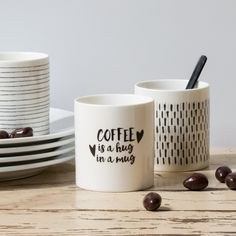 """""""Like a hug in a mug,"""" says Clara just before she takes a sip of coffee. In shops now. Mugs with statements, price DKK 19,73 / SEK 24,90 / NOK 26,60 / EUR 2,73 / GBP 2,44 / ISK 488"""