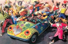 Mainzer-Cat-Cowboy-Band-in-Psychedelic-Hippie-Convertible-Repro-Postcard