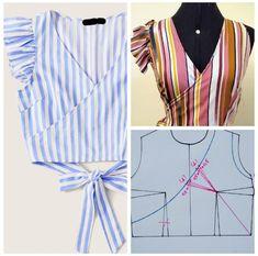 Dicas de Moda, Modelagem e Costura - Yarn Tutorial and Ideas Dress Sewing Patterns, Blouse Patterns, Clothing Patterns, Blouse Designs, Fashion Sewing, Diy Fashion, Ideias Fashion, Fashion Moda, Costura Fashion