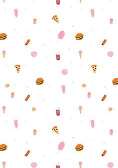 junk food / burger / hot dog / ice cream / candy floss / milkshake / donut / pizza / fries / pop / pattern design / illustration