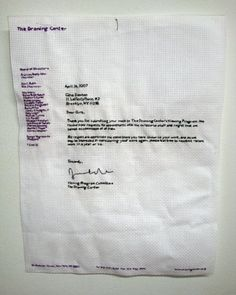 Gina Dawson | embroidered rejection letter
