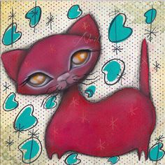 kitsch teal boomerang -  red Atomic - Mid Century Modern MCM - Abril Andrade kitty 1950's Retro painting