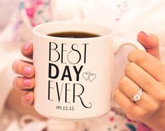 The perfect morning after gift to each other. These mugs bring warmth, love, and sanity to every marriage.   Personalized Best Day Ever 20 oz. Large Coffee Mugs (Set of 2)