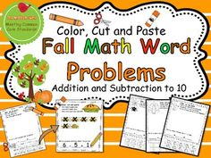 Fall Math Word Problems  *This pack contains word problems for 2 months worth of practice!   Many kids are ready to practice simple addition and subtraction word problems, but sometimes they struggle to draw all of the pictures needed to show their work.