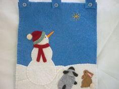 Primitive Snowman Wall Handing Christmas Door Decor Sheep Wool Felt. $32.00, via Etsy.