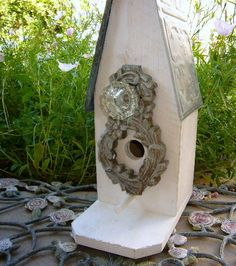 Shabby Chic Cottage Birdhouse with by LaurensGardenCottage on Etsy, $95.00