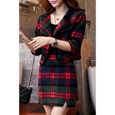 Stylish Turn-Down Collar Checked Print 3/4 Sleeve Coat + Skirt Twinset For Women