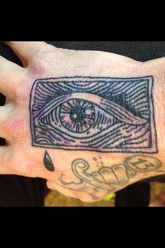 Blackwork line woodcut tattoo hand eye from flash.