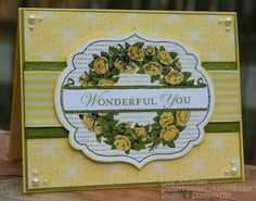 Wonderful You by Alcojo94 at Splitcoaststampers - old olive, daffodil delight & whisper white with black stazon & attic boutique papers