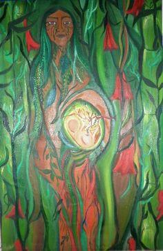 """Paz Treuquil (©2009 artmajeur.com/paztreuquil) """"El principio femenino de la naturaleza podría definirse como toda energía receptora capaz de acoger en su seno la germinación de cualquier forma de vida. Representa la vida manifiesta, el aspecto material y tangible de la Madre Naturaleza. De ella venimos y a ella regresamos en un ciclo incesante de vida, muerte y renacimiento. Así, para nuestros antepasados, la tierra oscura, húmeda y fértil era el receptáculo sagrado que acogía la ..."""