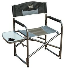 Timber Ridge Aluminum Portable Directors Folding Chair with Side Table Supports 300lbs >>> Read more reviews of the product by visiting the link on the image.