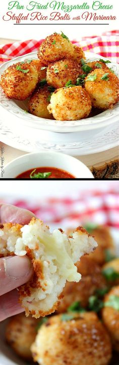 Pan Fried Mozzarella Cheese Stuffed Rice Balls are crunchy on the outside, creamy on the inside, and stuffed with lots of melted cheese! What's not to love? - Kudos Kitchen by Renee - www.kudoskitchenb...