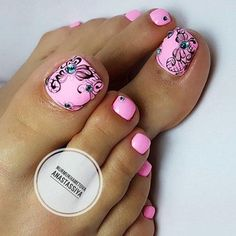Having short nails is extremely practical. The problem is so many nail art and manicure designs that you'll find online Toenail Art Designs, Pedicure Designs, Manicure E Pedicure, Toe Designs, Pretty Toe Nails, Cute Toe Nails, Toe Nail Art, Colorful Nail Designs, Beautiful Nail Designs