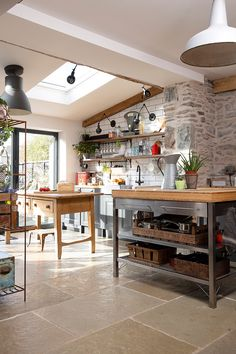 open plan kitchen extension with rooflights and bi-fold doors Small Cottage Kitchen, Cottage Kitchens, Rustic Kitchen, New Kitchen, Kitchen Ideas, Kitchen Inspiration, Small Open Plan Kitchens, Open Plan Kitchen Diner, Kitchen Island With Seating
