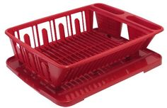 Red Appliances, Dish Drainers, Dish Racks, Washing Dishes, Utensil Holder, Plates And Bowls, Small Plates, Flatware Set, Teller