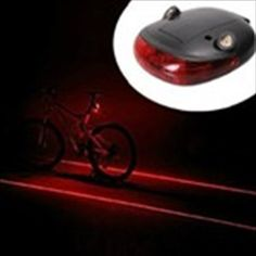 Battery Powered Round Shape LED Tail Light & Laser Tail Light for Bicycle Bike - Black