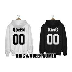 Bluzy z kapturem dla par zakochanych komplet 2 szt Queen King + numer