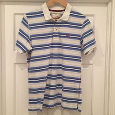 Men's NEXT Small Slim Fit White and Blue Striped 100% Cotton Polo Shirt