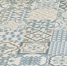 Vintage patterned floor or wall tiles in subtle shades of grey, blue, beige, white. Perfect for adding a Heritage feel to any room. Best Bathroom Tiles, Beige Bathroom, Bathroom Flooring, Kitchen Flooring, Blue Bathrooms, Kitchen Backsplash, Bathroom Ideas, Bathroom Marble, Kitchen Wall Tiles