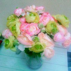 BOUQUET RENONCULES pastel fleurs artificielles
