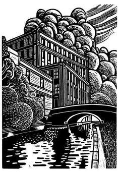 ✽   eric gaskell   -  'mather mill bridge, leigh'  -  linocut   -   artsia.com