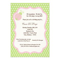 5x7 Light Green Lady Bug Birthday Party Invite