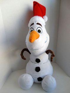 """Gemmy Disney Olaf 23"""" Stuffed Plush Sitting Snowman With Santa Hat   Toys & Hobbies, Stuffed Animals, Disney   eBay!"""