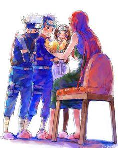 Kushina Uzumaki holding Naruto, with Team Minato - Kakashi, Rin, Obito Naruto Uzumaki, Anime Naruto, Kakashi And Obito, Naruto Fan Art, Naruto Cute, Naruto Sasuke Sakura, Gaara, Sasunaru, Naruhina