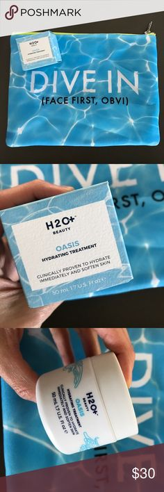 NEW H2O+ Beauty Oasis Hydrating Treatment + Bag New Never Used H2O+ Beauty Oasis Hydrating Treatment  ($38) + New Printed Large Cosmetic Bag Sephora Makeup