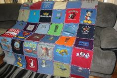 Custom flannel backed T-shirt rag quilt--36 t-shirt quilt on Etsy, $150.00