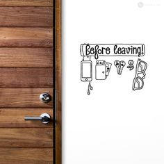 Wall sticker decal u0027Before Leavingu0027 checklist reminder for exit door.  sc 1 st  Pinterest & Judit Myburgh (juditmyburgh) on Pinterest