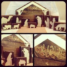 Wooden Nativity Block Silhouette Pattern