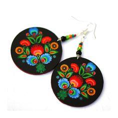 Folk Flowers polish folk art motif Earrings Round by MADEbyMADA, $20.00